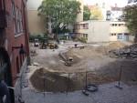 Zustand der Baustelle auf dem Schulhof am 12. September 2018